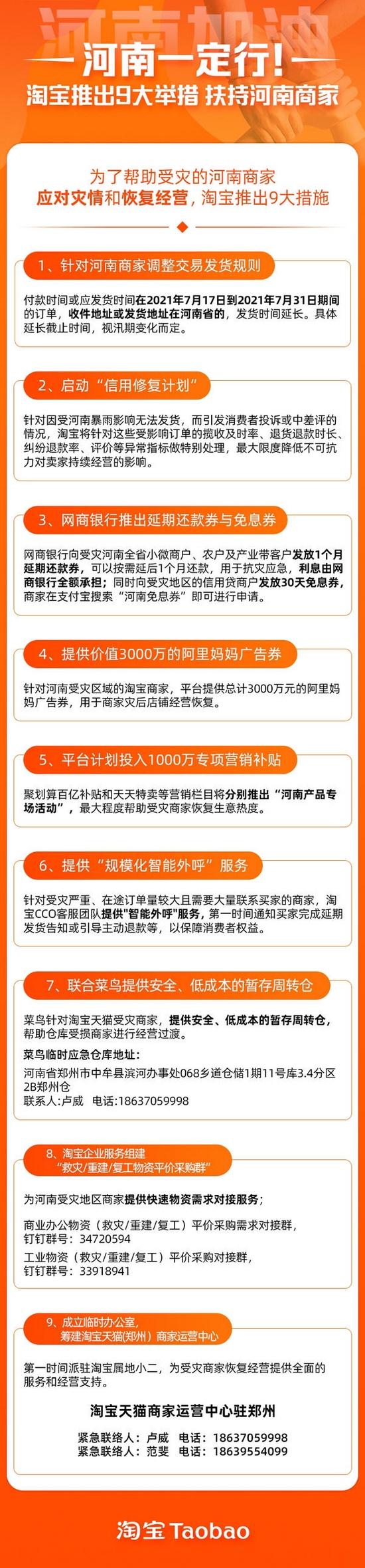 淘宝推出9大举措帮助河南商家应对灾情恢复经营
